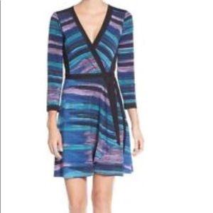 BCBGMAXAZRIA ADELE Color Block Jersey Wrap Dress S
